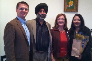 From left: Dr. Chuck Sands, dean of the College of Allied Health; Dr. Harki Dhillon; Carin Shuler, chair of the dean's executive council and Mrs. Deepta Dhillon.