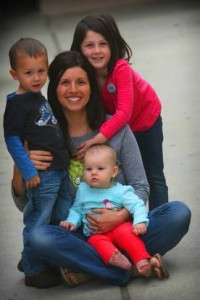 Janelle Meisel with children Elijah, 3; Kinsey, 4 1/2; and Aubrey, 8 months