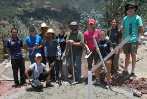 Peter Goss (center) with members of the  2013 East Asia Community Development ISP Team and  local villagers