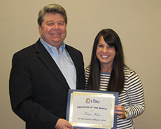Dr. Ronald L. Ellis presented the March Employee of the Month Award to Kristin Waters.