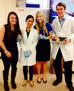 From left to right: Kristina Fernandez, biology student; Dr. Nora Vinh; Brittany Mammano, biology student and Scott Sandy, biology student