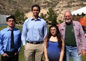 From left: CBU students Randy Song, Carl Carson and Katrina Ramos with Daniel McCarthy, director of natural resources, San Manuel