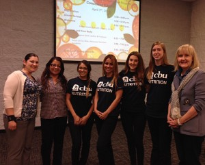 From left: nutrition students Stephanie Curnow; Kristy Valencia; Sarah Velez; Megan Fuller and Lesley Garnica with Barth