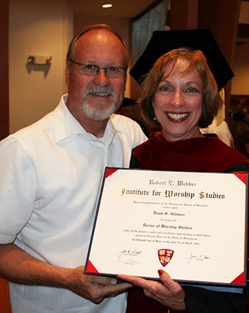 Dr. Dawn Gilmore and her husband, Glenn, at commencement ceremonies in Orange Park, Fla.