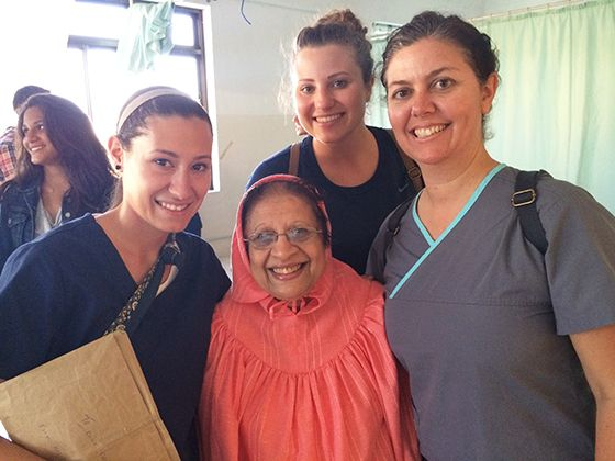From left: Daniela Medina and Isabel Archuleta, CBU students, and Dr. Jodi Baker, associate professor of kinesiology, pose with a patient.