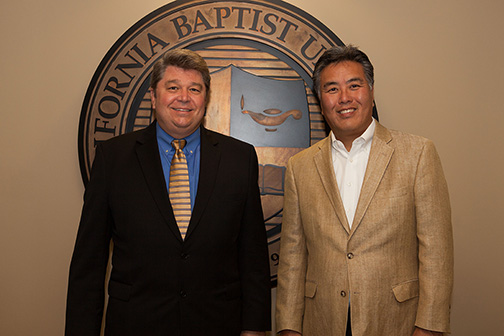 From left: Dr. Ronald L. Ellis and Mark Takano