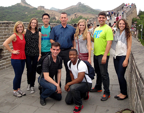 A group from CBU's Collinsworth School of Music at the Great Wall of China