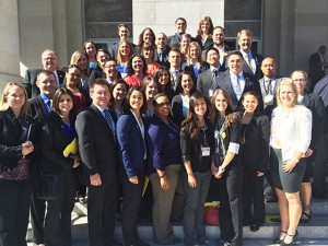 "A group of CBU students, alumni and faculty at the ""Hit the Hill"" event in the State Capitol"