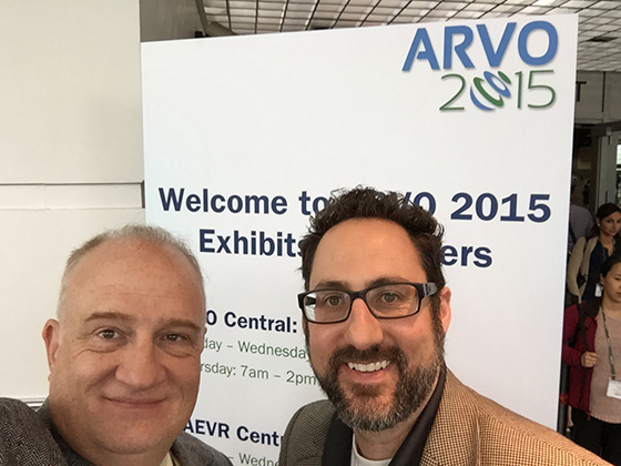 From left: Dr. Creed Jones, professor of software engineering, and Dr. Matthew Rickard , associate professor of bioengineering, attend ARVO 2015.