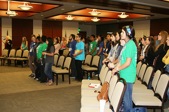 Students at the Global Missions Health Conference participate in a time of worship.