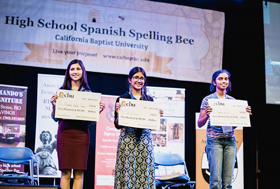 The winners  were (from left) Marisol Macías Ponce, Alondra Fabian Pérez and Nivedita Kanrar.