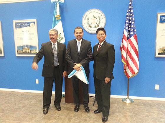 From left: Representative of the Republic of Ecuador; Billy Munoz, Consul of the Republic of Guatemala, and Dr. William Flores