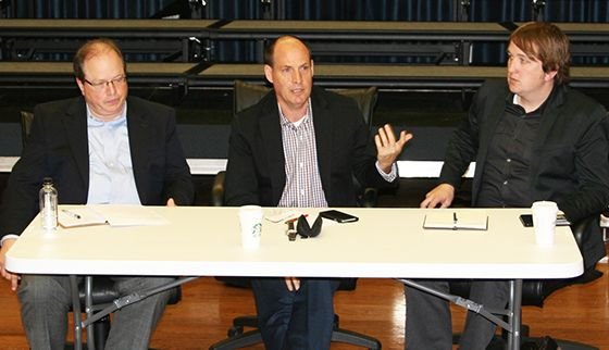 From left: Russell Mauldin, Phillip Keveren and Cliff Duren speak to music majors during the Meet the Arrangers event.