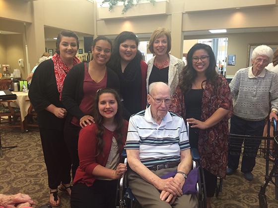 From left: Ashley Huckaby, Gabby Casango, Lilia Valdez, Dr. Dawn Gilmore, Athalia Ayuco. Next to Gerald Longerbeam is Justina Dreschler