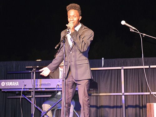 "Troy Mitchell, a health science sophomore, performs ""Billie Jean"" at Black History Month celebration on Feb 18."