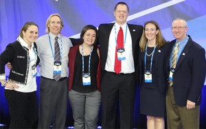 Pearson (second from left) is pictured with the administrative team of fellow committee members and NCAA staff.